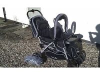 Tandem double Pushchair with hoods and rain cover