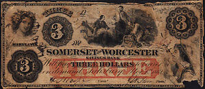 1862 Very OLD and RARE $3.00 Bank Note paper Money