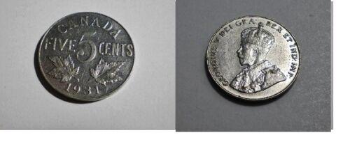 1931  CANADA 5 Cent George V Nickel  mid grade