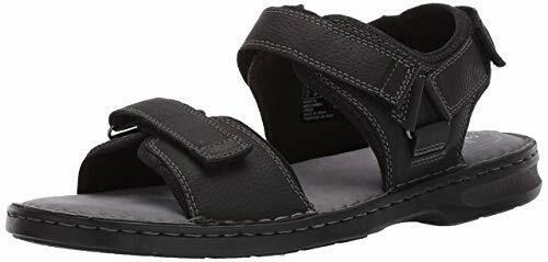 Clarks Men's Malone Shore Black Tumbled Leather Sandals 26139872