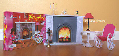 GLORIA DOLLHOUSE BARBIE FURNITURE FIREPLACE Set W Chair & Table For Barbie