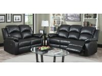 *COME AND VIEW IT,TRY IT THEN BUY IT*BRAND NEW BLACK LEATHER RECLINER 3+2 SOFA SUITE + DELIVERY