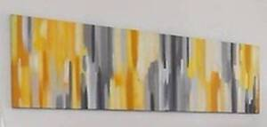 Yellow and Grey Abstract Canvas - New Hornsby Hornsby Area Preview