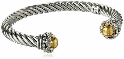 Sterling Silver .925 Twisted Cuff Decorative Rope End Cap Bracelet By Sunstone