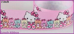 1 m, HELLO KITTY, Ribbon, 1 inch, Grosgrain, Hair, Bows, BUY 5m Of Any, GET 6m
