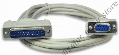 10ft long DB9pin Female~DB25 Male Straight Through RS232 Serial/Modem Cable/Cord