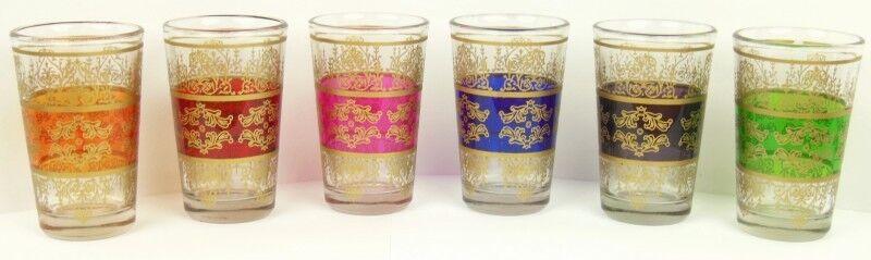 """6er-Set Marokkanische Teegläser """"Marokko2"""" orientalische türkische Teeglas bunt"""