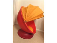 Ikea red/orange kids spinning, egg chair with pull down hood