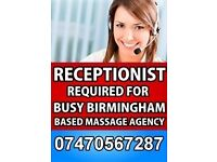 Receptionist required for busy, Birmingham based Massage Agency.