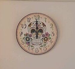 Candy skull bright coloured clock