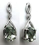 Green Amethyst Earrings Gold