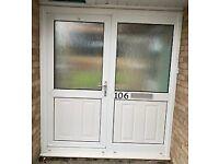 White UPVC Part Glazed Door and Part Glazed side panel