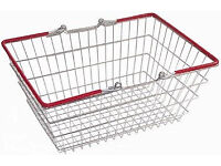 3x Stackable Lightweight Portable Metal Wire Retail Shopping Baskets Red Handles
