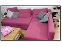 Sofa Friheten ikea pink /Corner sofa-bed with storage