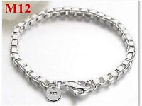 New - Stamped 925 Chinese Silver - Mens - Ladies - Box Chain Bracelet -