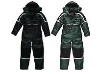 BRAND NEW WATER PROOF / THERMAL WINTER QUILTED LINED ZIPPED BOILER SUIT EX LARGE NORMAL PRICE £80.00
