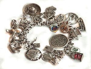 297f9cc8b1bf Vintage Heavy Sterling Silver Charm Bracelet