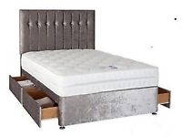 Silver Crushed Velvet Bed With Headboard & Dual Sided Memory Foam Mattress
