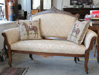 Antique Burled Walnut Settee