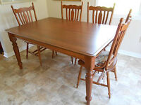 Solid Birch Table/ with 8 chairs