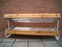 REDUCED Double canopy 18 tube 160-Watt Pine sunbed. Will be available when off hire 16th March