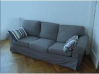 IKEA EKTORP 3 seater sofa, grey, Very good condition, transpotable large car/roofrack