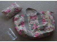 Cath Kidston Country Rose Foldaway Overnight Bag & toiletries bag (Sand) used twice £25.00