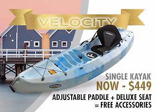 FREE MetroDelivery* New Velocity Single Kayak Backrest and Paddle