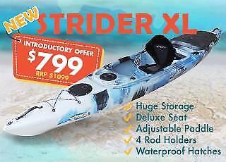 Spring SALE - Strider XL Fishing Kayak - Free Accessories