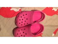 Girls pink crocs 8-9 size