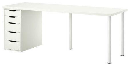 Large White Ikea Desk with Drawers - 200cm x 60cm Linnmon/Alex