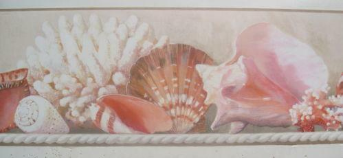 seashell wallpaper border ebay. Black Bedroom Furniture Sets. Home Design Ideas