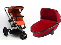 3 in 1 red Quinny Pram. Car seat, buggy part & carry cot. All excellent condition, collection only.