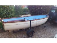 Foreland Boat, trailer, engine, fuel tank, oars and cover