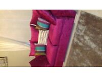Crushed velvet sofas and cuddle chair