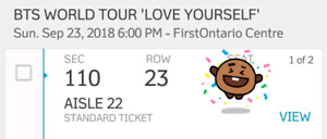 BTS ticket for Sunday Sept 23 show