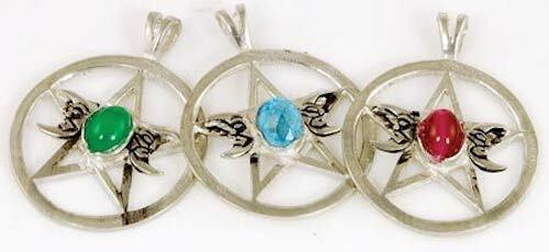 Triple Moon and Pentagram Pewter Talisman Amulet Pendant!