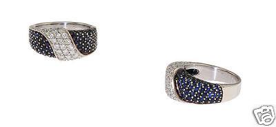 Estate 18K WG Ladies Pave Diamond Sapphire Band