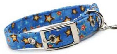Dixie Digs Fabric Dog Collar Blue Stars - Cotton & Acrylic FREE CHARM Blue Stars Dog Collars