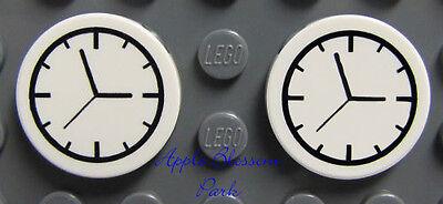 Neu Lego Viele / 2 Minifig Küche Uhren - Freunde Weiß Rund 2x2 Zug Wecker