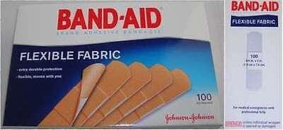 """100 Johnson & Johnson 4434 Flexible Fabric Band-Aids Bandaids 3/4"""" x 3"""" 100/box"""