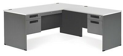Executive Series Secretarial Office Desk With Gray Top And Right Return