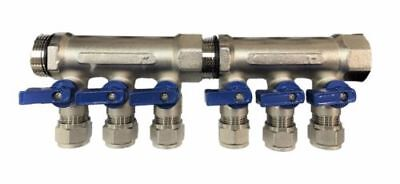 1 Brass Ball Valve Manifold For 12 Pex Tubing With 6 Port - Blue