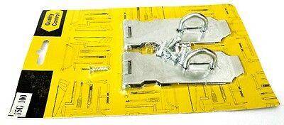 (2 pc Silver Metal Latch Hasp Staple Cabinet Gate Door Lock Set Safety Hardware)