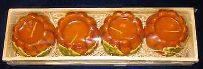 ~ NEW  HALLOWEEN AUTUMNAL PUMPKIN DECOR CANDLES WITH LEAVES BOX OF 4  N STRAW ~ - Pumpkin With Leaves