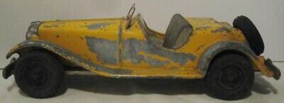 Unusual Old Metal Toy MG Sports Car Big 9 Yellow Hubley 1950s