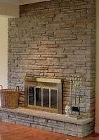Brass and Glass Fireplace Screen