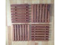 Set of 4 wooden trivets