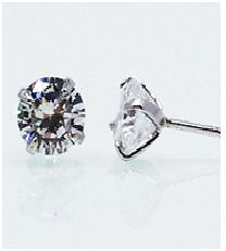 Rhinestone Stud Earrings 925 Sterling Silver ONLY 5$