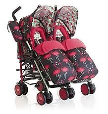 Cosatto Supa Dupa Twin Stroller Flamingo Fling - Pink - second-hand but almost new